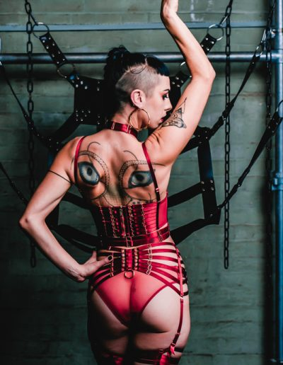beautiful tattooed mistress wearing shiny red lingerie